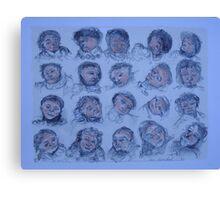 Faces Blue    2darts,  Canvas Print