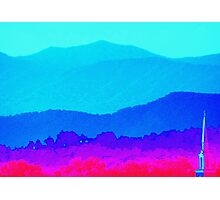 Steeple Against The Backdrop Of Mountains  Photographic Print