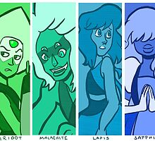 Crystal Gems in Blue and Green by mochipanda