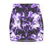 Electrifying purple sparkly triangle flames Mini Skirt