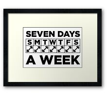 Seven Days A Week of the Gym Framed Print