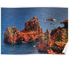 rocks in the Mediterranean Sea Poster