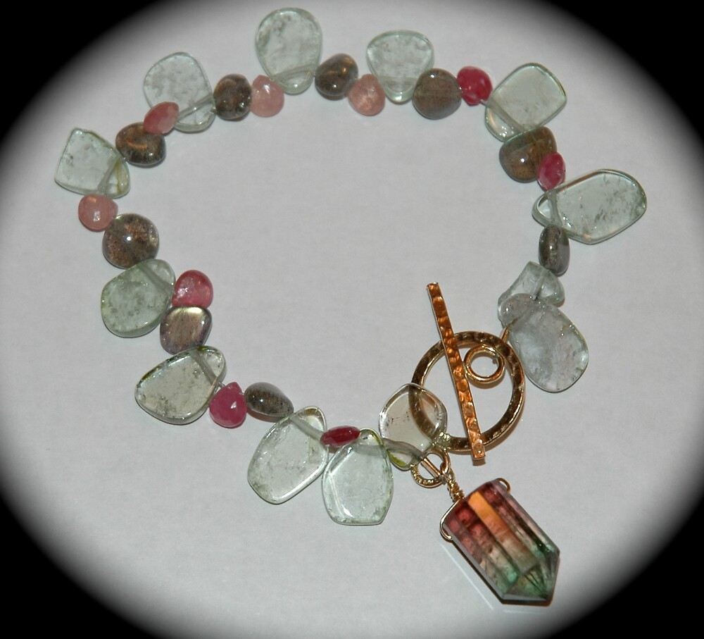 Mouthwatering Watermelon Tourmaline, Labradorite and Sapphire Bracelet, Topped Off With A Luscious Watermelon Tourmaline Bullet. Yum! by Ainsley Kellar Creations