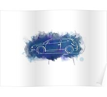 VW Scirocco - Single Line Poster