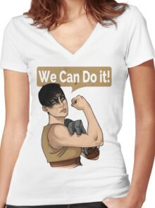 SHE can do it! Women's Fitted V-Neck T-Shirt