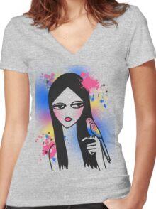 Budgie Girl Women's Fitted V-Neck T-Shirt