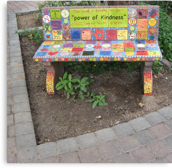 """Power of KINDNESS"" - Tiled Bench by DAdeSimone"