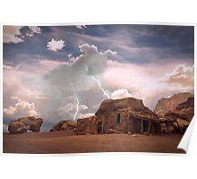Southwest Desert Landscape Indian House and Lightning Poster