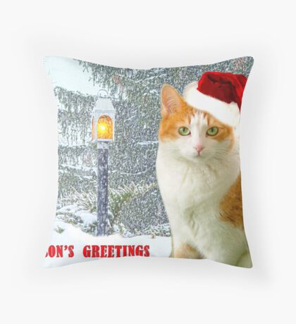 Bitty In A Christmas Snow Scene Throw Pillow