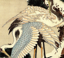 'Two Cranes on a Pine Covered with Snow' by Katsushika Hokusai (Reproduction) Sticker
