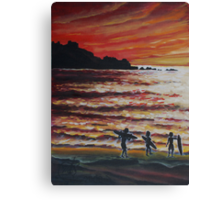 Oil Painting - Surfers in Pacifica, California, 2008 Canvas Print