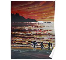 Oil Painting - Surfers in Pacifica, California, 2008 Poster