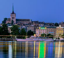 Geneva Paddle steamer Savoie and Cathederal by David Freeman