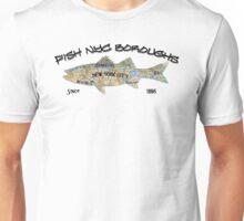 New York City Fishing in Every Borough - subway map, brooklyn, queens, bronxs, Manhetten fishing Unisex T-Shirt
