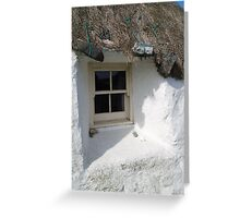 little white thatch cottage Greeting Card