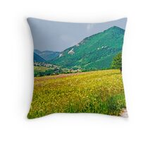 Chartreuse Wild Flowers Throw Pillow