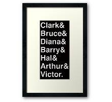 JUSTICE LEAGUE Helvetica Names List Framed Print