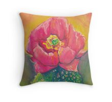 Pink Prickly Pear Cactus Bloom Watercolor by Candace Byington Throw Pillow