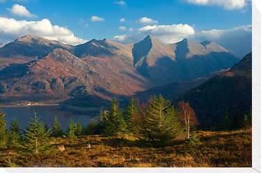 The Five Sisters of Kintail from Mam Ratagan,North West Scotland. by photosecosse /barbara jones