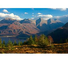 The Five Sisters of Kintail from Mam Ratagan,North West Scotland. Photographic Print