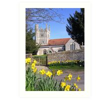 Easter time at All Saints, Barton Stacey, Hampshire, southern England. Art Print