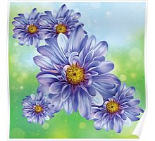 Pretty Blue Blooms Poster