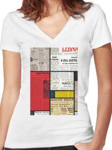 Mondrians News Women's Fitted V-Neck T-Shirt