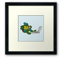 TMNT - Leonardo with Pizza Framed Print