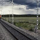 Meeting of trains near Gallivare Sweden 198406180003 by Fred Mitchell