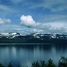 Snow across Lake Tornetrask Sweden 198406180007 by Fred Mitchell