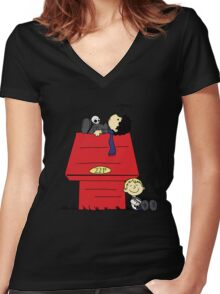 A Three Patch Problem Women's Fitted V-Neck T-Shirt