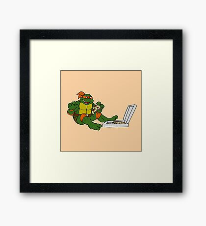 TMNT - Michelangelo with Pizza Framed Print