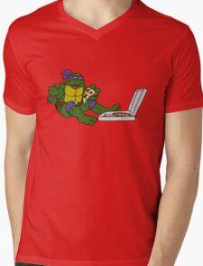 TMNT - Donatello with Pizza Mens V-Neck T-Shirt