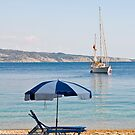 Sailing off Kerasia Beach, Corfu by Sheila Laurens