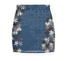 Jigsaw puzzle pieces BLUE Mini Skirt