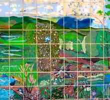 zoo wall mosaic color animal designs by Jonathan  Green