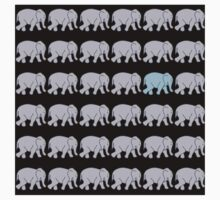 Grey Elephants with One Blue One One Piece - Long Sleeve