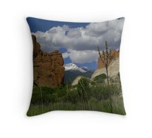 Gateway Rock framing Pikes Peak Throw Pillow