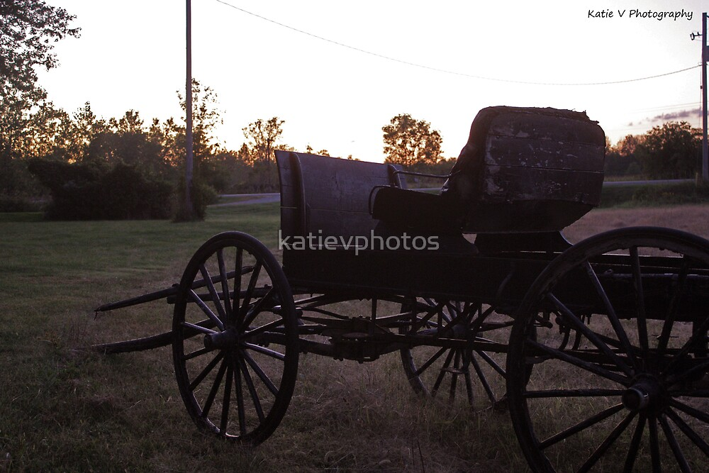Old wagon at sunset by katievphotos