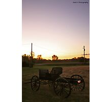 Old buggy at sunset 2 Photographic Print