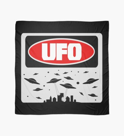 UFO, FUNNY DANGER STYLE FAKE SAFETY SIGN Scarf