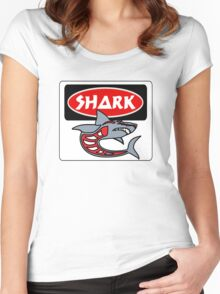 SHARK, FUNNY DANGER STYLE FAKE SAFETY SIGN Women's Fitted Scoop T-Shirt