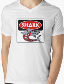 SHARK, FUNNY DANGER STYLE FAKE SAFETY SIGN Mens V-Neck T-Shirt