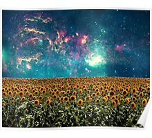 Sunflowers And Space Poster