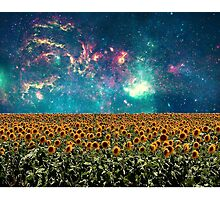 Sunflowers And Space Photographic Print