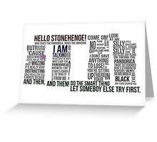 Dr Who Stonehenge Speech typography Greeting Card