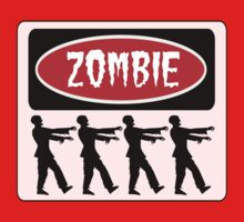 ZOMBIES WALKING IN A LINE, FUNNY DANGER STYLE FAKE SAFETY SIGN One Piece - Short Sleeve