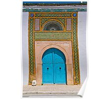 Blue Door surrounded by colourful frame Poster