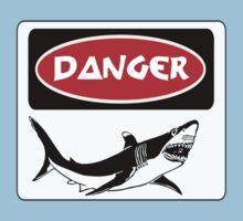 DANGER SHARK, FUNNY FAKE SAFETY SIGN Kids Clothes