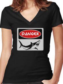 DANGER SHARK, FUNNY FAKE SAFETY SIGN Women's Fitted V-Neck T-Shirt